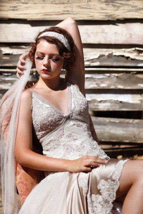    Original Gown By Deborah Selleck    1920's   1930's   Gatsby Glam   Art Deco   Lace   Silk   Veil   Wedding   Vintage   Old Hollywood   Wedding Dress   Bridal Gown
