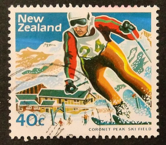 Downhill Skiing -Coronet Peak Ski Field -New Zealand -15766 Framed Postage Stamp Art
