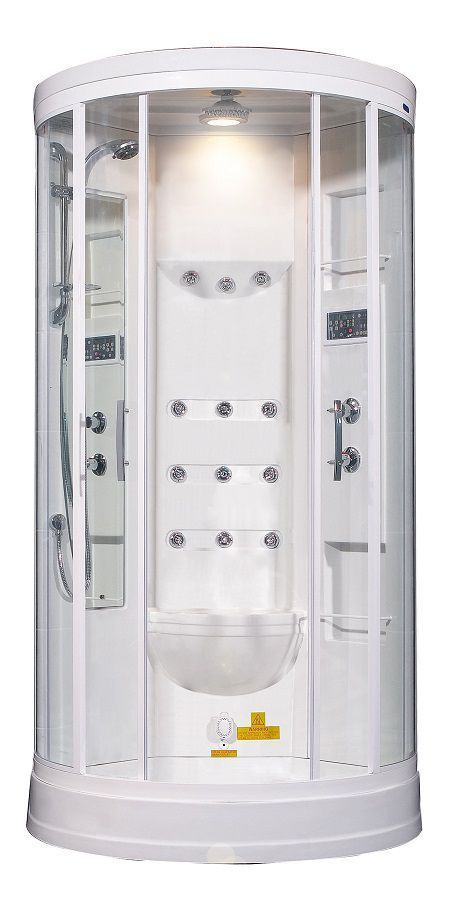 40 Inch x 40 Inch x 88 Inch Steam Shower Enclosure Kit with 12 Body Jets in White #SteamShowerEnclosure