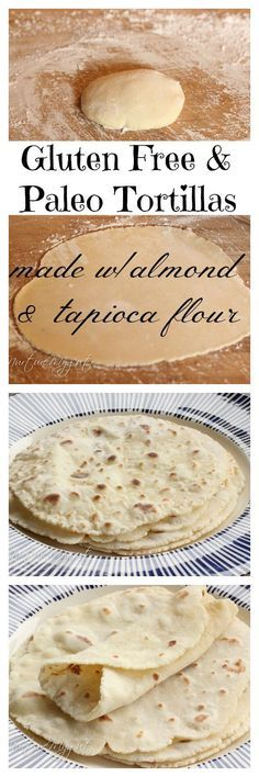 Best Gluten Free & Paleo Tortillas! Made with blanched almond and tapioca flour. No eggs or dairy. Can be made in 20 minutes or less. Dough stores well in the fridge for several days. We made wraps, burritos and this is perfect for scooping up stews! These tortillas are soft, flexible and have a great flavor. My kid's like these better than Udi's Tortillas. This is the best gluten free tortilla dough ever!