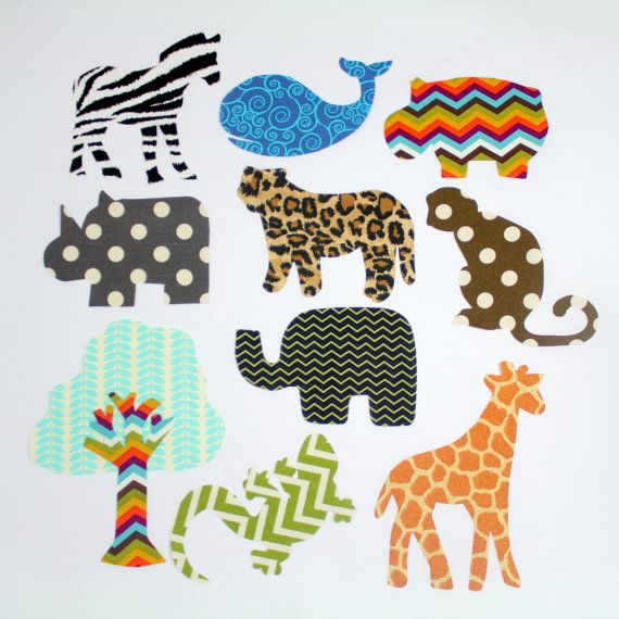 12 Piece Jungle Creature Iron On Applique Set for Onesies, Bibs, T-shirts, Blankets, Etc. Safari Themed Iron On Applique Set.