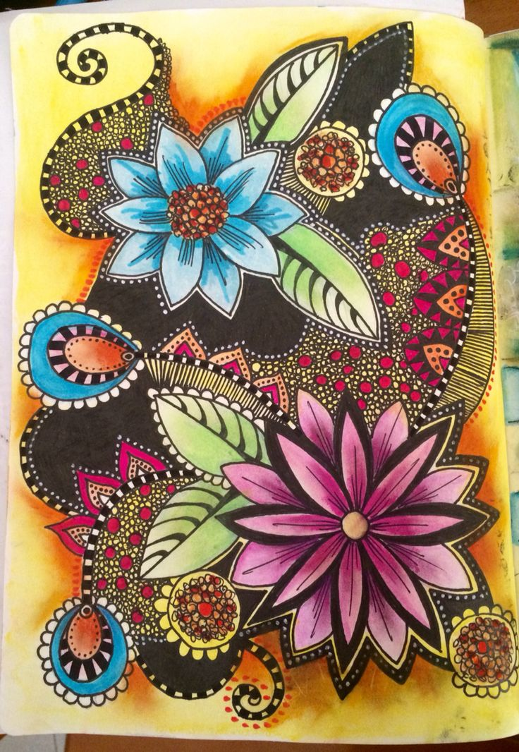 Doodle art journal page - stunning black, nice to see it doesn't have to cover all the background.