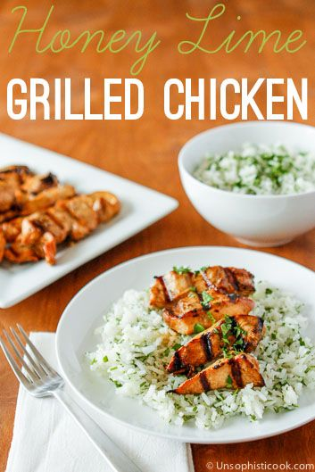 Honey Lime Chicken -- 5 simple ingredients make up this delicious marinade that will take chicken breasts from blah to wow. Mom tested, kid approved!
