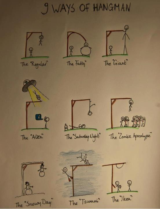 9 ways of hangmanFunny Things, Laugh, Awesome, Random, Funny Stuff, Plays Hangman, Humor, Smile, Giggles
