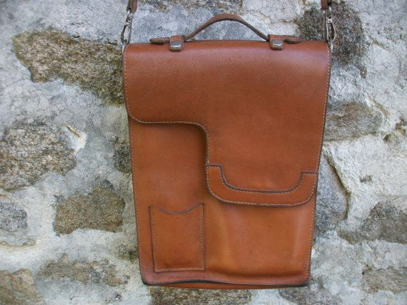 Vintage French Messenger Bag Tan Leather by LaCravate on Etsy