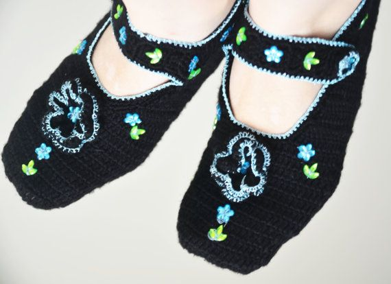 hand knitted wool slippers traditional black by LOVELYCHICKNITTING