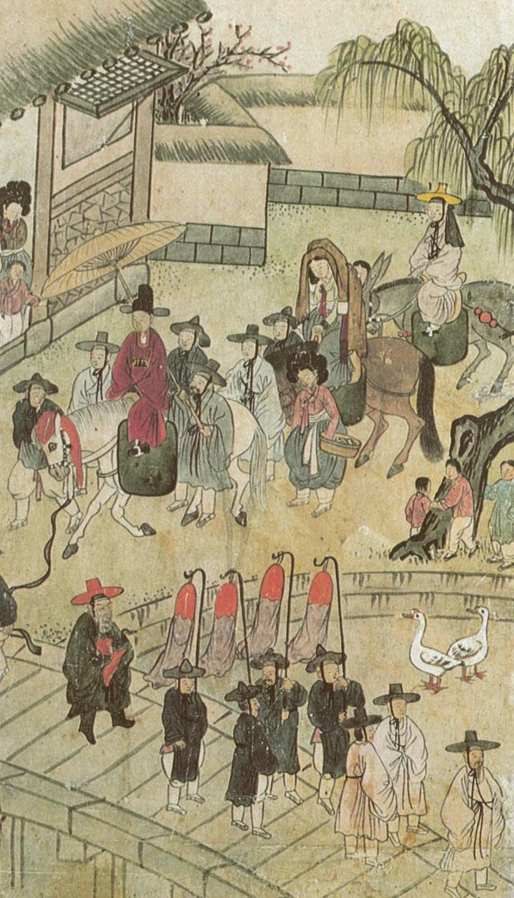 (Korea) Going for Wedding by unknown artist. ca 18th century CE. Joseon Kingdom, Korea. 혼인행렬.