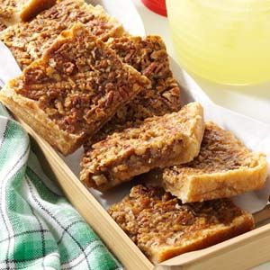 Pecan Pie Bars for a Crowd Recipe -I love to cook large quantities and do most of the cooking for our church functions. People seem to enjoy these scrumptious bars even more than pecan pie.                                -Clara Honeyager                                 North Prairie, Wisconsin