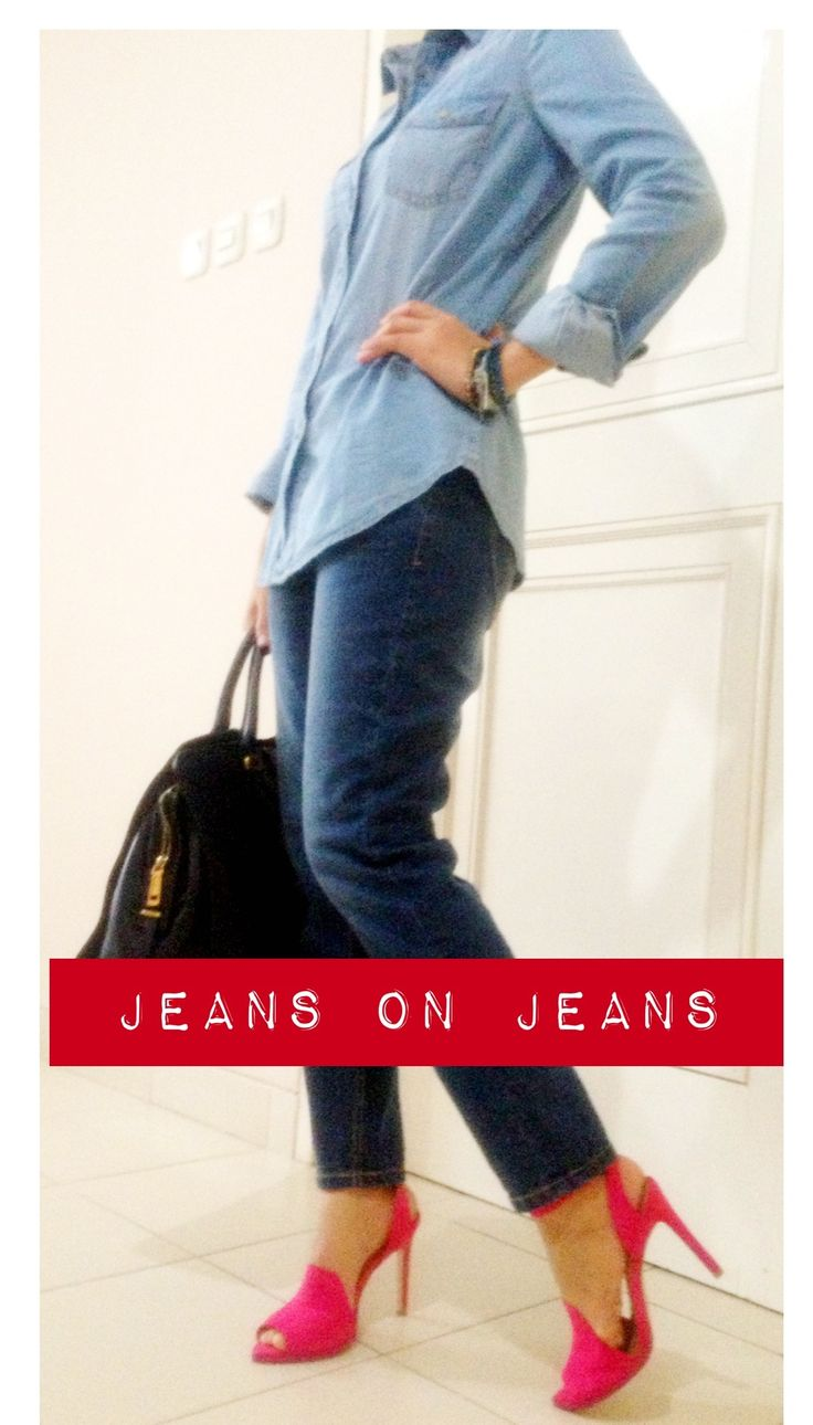 a pop of colour for the jeans on jeans