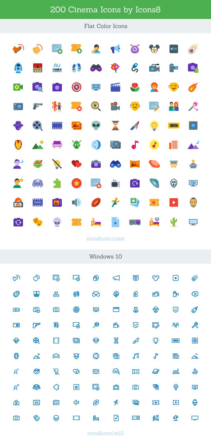 Cinema Icon Set (SVG) - A free cinema themed icon set with 200 vector icons (SVG) in two styles: Windows 10 and Flat Color.