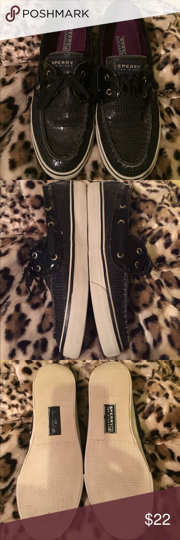 👁SPERRY TOP-SIDER👁 Has purple satin on the inside. Black sequins over the entire shoe. Twill ribbon as shoe strings which adds to the detail. These are pre-loved.... and more love ❤️ is ready to give away😍they are very clean, no odors. Just natural wear. Don't let this pass you bye ladies Sperry Top-Sider Shoes Flats & Loafers