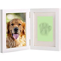 """Pet Memorial Picture Frame Dog Paw Prints Double Photo Frame Personalized White Wooden Frame Kit - 5"""" x 7"""" or 4"""" x 6"""""""