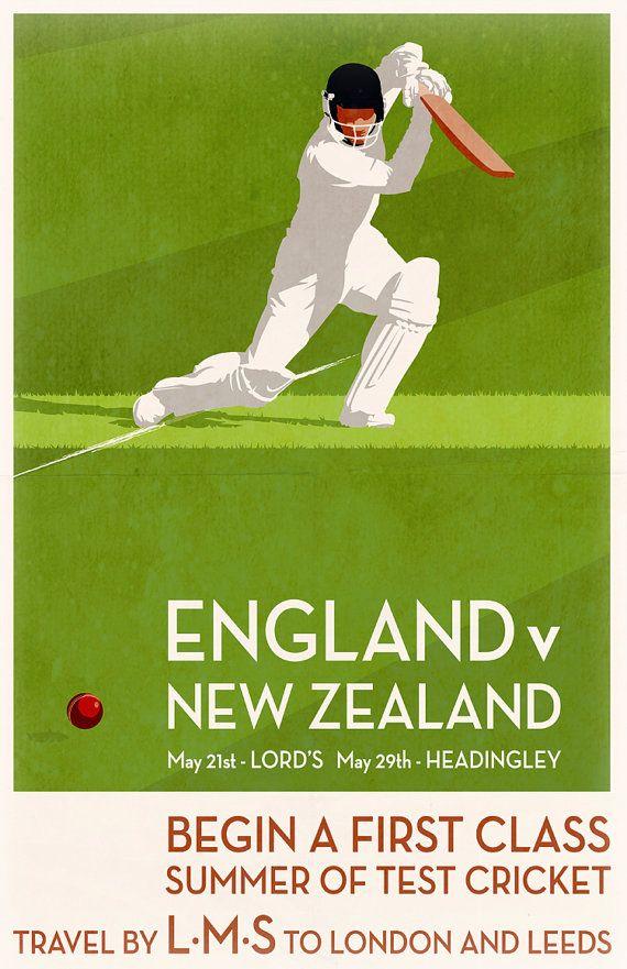 Vintage Cricket Poster Pastiche | 2015 Summer 2 Test Match Series against New…