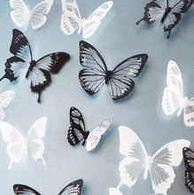 18 шт. черный / белый кристаллический бабочка стикер искусство наклейка домашнего декора настенная наклейки DIY рождество свадебные украшения подарок(China (Mainland))