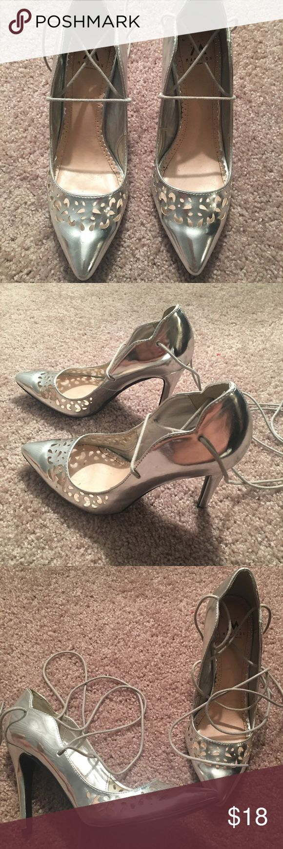 Shoe dazzle silver metallic laser cut pumps Lace up metallic laser cut pumps from shoedazzle. Shoe Dazzle Shoes Heels