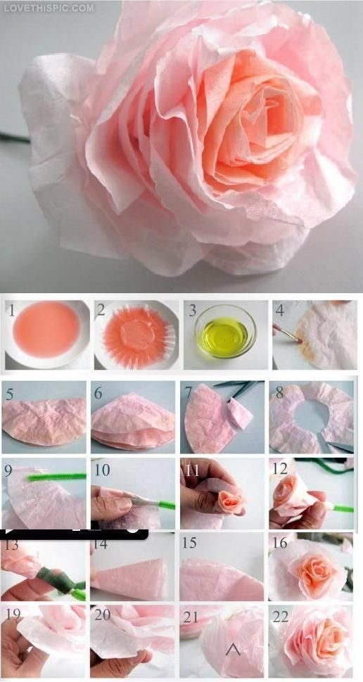 coffee filter roses - wrapped around pipe cleaner.....could probably use floral wire and tape