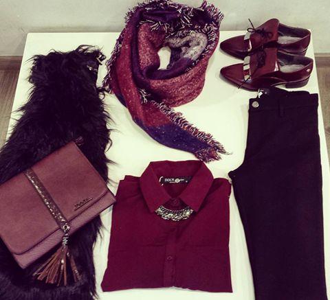 Total look #doca! Black and burgundy! www.doca.gr