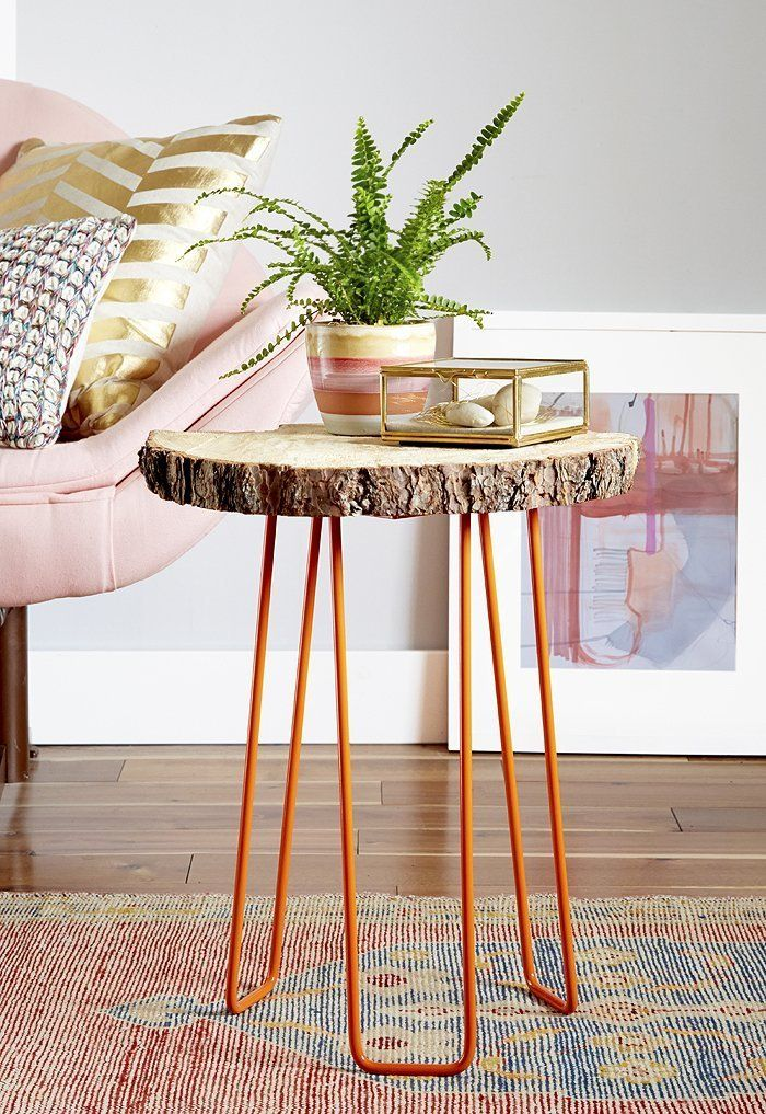 DIY Tree Slab Side Table with Hairpin