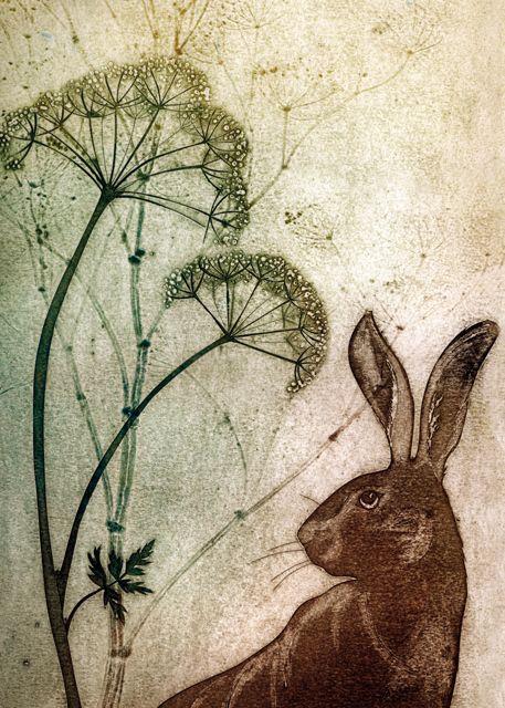 'Listening' By Printmaker Kerry Bucks. Blank Art Cards By  Green Pebble. www.greenpebble.co.uk