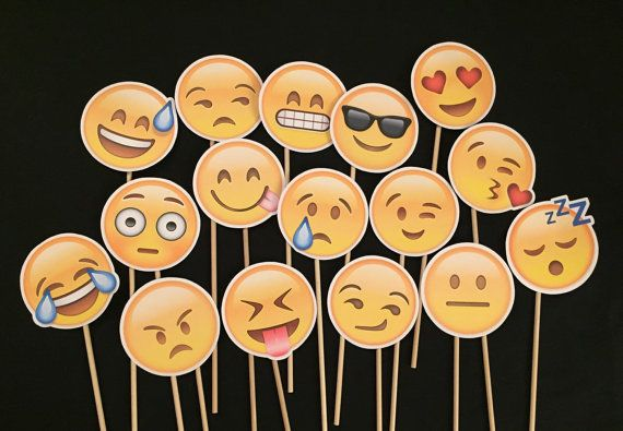 Emoji Photo booth props. You get everything in the photo. These images are printed on card stock and come attached to a wooden dowel. Ships in 3-5 business days. Message me if you have any questions.  You get 16 pieces total. Choose 4 or 7 props through checkout. 4 props-$30. 7 props-$48.  No substitutions.  All items ship USPS First Class Shipping. Rush shipping available upgrade during checkout.