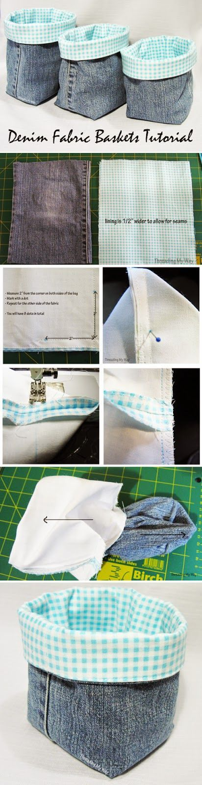 Aufbewahrung Korb aus Jeans