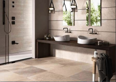 Sand coloured porcelain tiles are perfect for use in wet areas such as bathrooms and wetrooms.  #porcelain #tiles #sandy