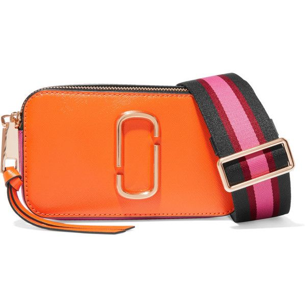 Marc Jacobs Snapshot textured-leather shoulder bag (16.970 RUB) ❤ liked on Polyvore featuring bags, handbags, shoulder bags, orange, zipper shoulder bag, orange purse, shoulder hand bags, orange shoulder bag and shoulder bag handbag