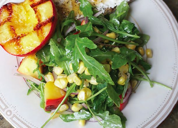 This recipe works best in concert with two others: homemade ricotta and fermented corn. It's definitely incredible with store-bought ricotta and corn salsa from Trader Joe's, if you prefer to substitute. When Oregon peaches are in season, this grilled peach salad belongs on your summer cookout menu.
