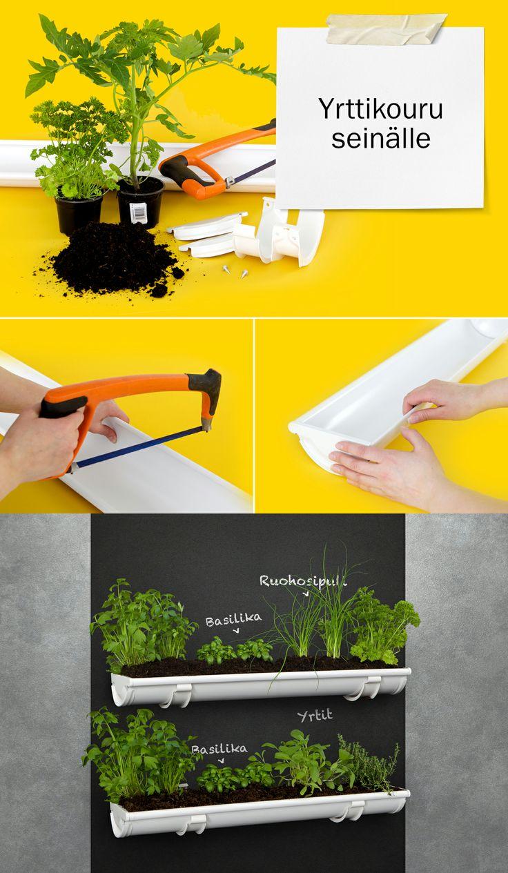 #DIY yrttikouru seinälle. Haluatko nauttia tuoreita yrttejä, mutta tilanahtaus iski? Sijoita yrtit tai kukat helpon ohjeen avulla seinälle. Lisää ideoita osoitteessa dreambuilder.fi. #yrtit #istutus #askartelu #ränni    #DIY herbs on chute. Make a creative herb planter on the wall. #herbs #planter #chute #garden