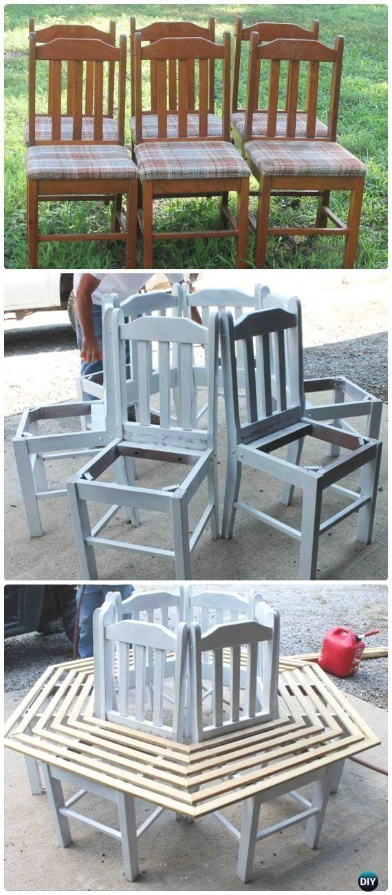 DIY Old Chair Tree Bench Instructions - Outdoor Garden Bench Ideas #outdoorsdiy