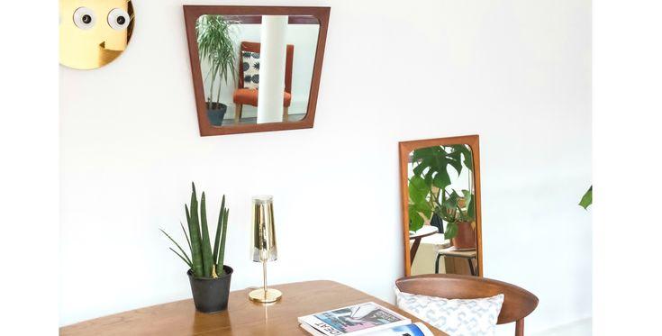 Petit miroir teck vintage, miroir vintage, miroir en teck, miroir vintage, miroir 1950, room 30, mobilier vintage, mobilier en ligne, mobilier vintage en ligne, mobilier vintage paris