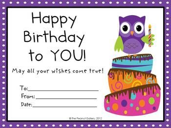 Owl Theme Birthday Certificates *Cute idea to use for an announcement outside the day of the party