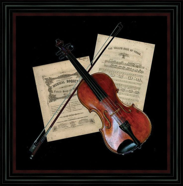 Violin Wallpaper: Custom Shadowbox Frame With Matte Fabric Background