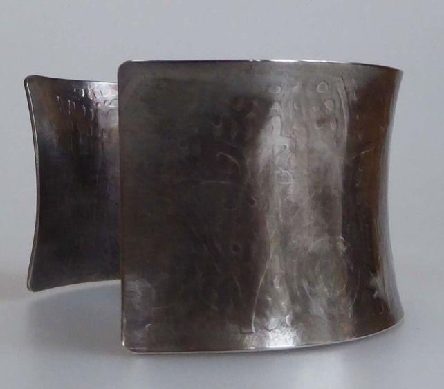 Wide sterling silver cuff darkened embossed hallmarked statement £120.00