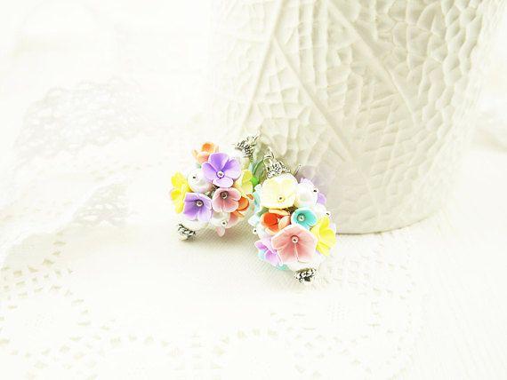 Flower bouquet earrings Polymer clay flower jewelry Flowers in