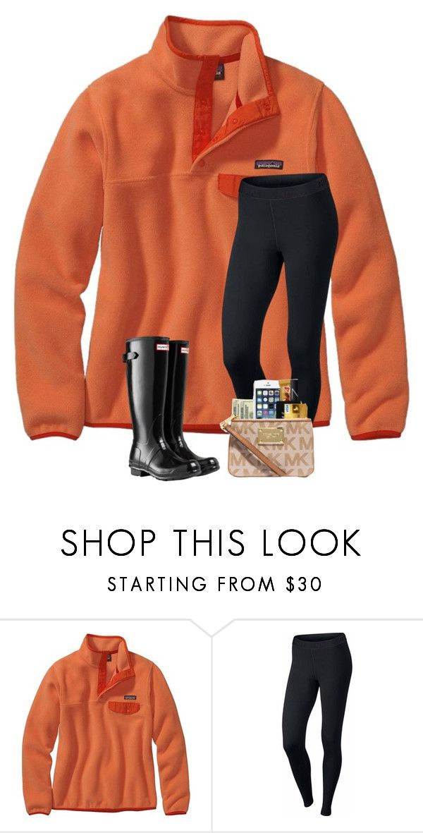 """Hoping for no school tomorrow, it has rained all day here and it's flooded in a some places..."" by preppyandsouthern17 ❤ liked on Polyvore featuring Patagonia, NIKE and Hunter"