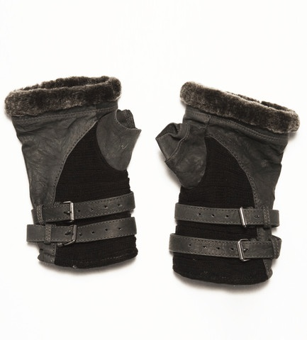 Shearling fingerless gloves, SkinGraft Fashion. $136.00