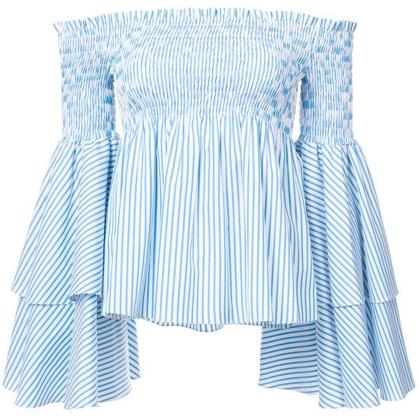 Caroline Constas off-shoulders flared sleeves blouse (113.985 HUF) via Polyvore featuring tops, blouses, blue, bell sleeve blouse, blue off shoulder top, flared sleeve top, off the shoulder bell sleeve top and off shoulder blouse