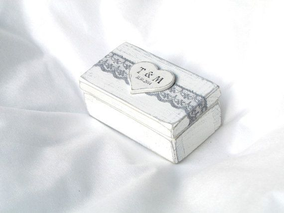 Wedding Ring Box Ring Bearer Box Ring Holder Double Ring Box Rustic Proposal Ring Box Hearts Wooden Engagement Ring Box