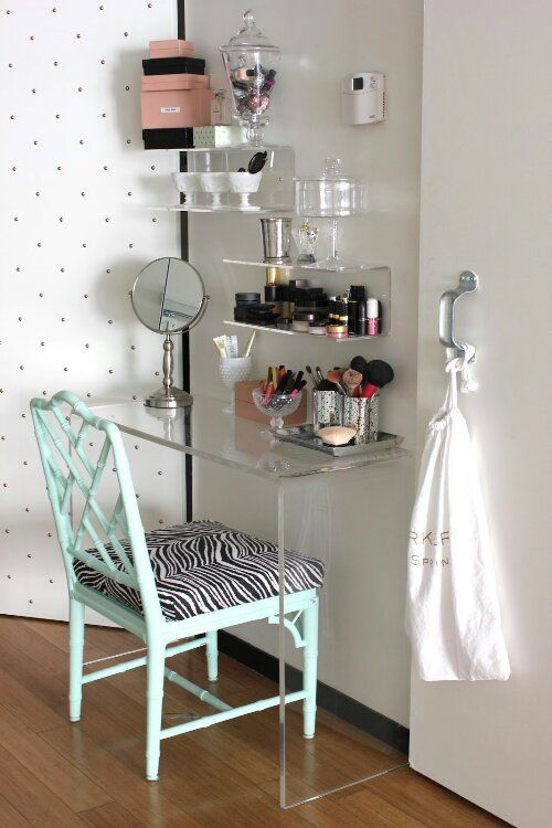 lucite vanity makeover.jpeg. CB2 peekaboo console used as vanity table. Painted faux bamboo Chippendale chair. High gloss paint. Glossy.