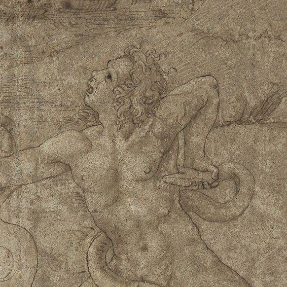 Giulio Romano (allievo di) 1520 c. , Penna, pennello e inchiostro bruno, rialzi in biacca, Mitologico - master-drawings.com http://www.master-drawings.com/ITA/disegni_dettagli.php?codice=119&foto=4#A1