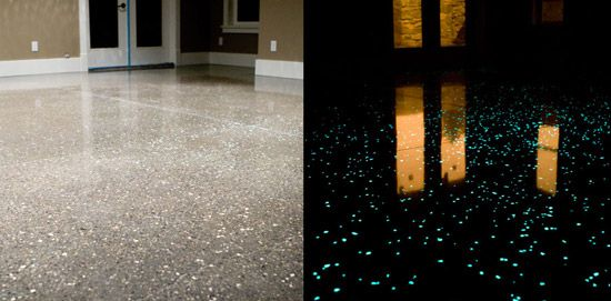 Polished concrete with phosphorescent crystals are embedded into the concrete surface that captures energy from the sun and emits light every evening for approximately 10 hours.