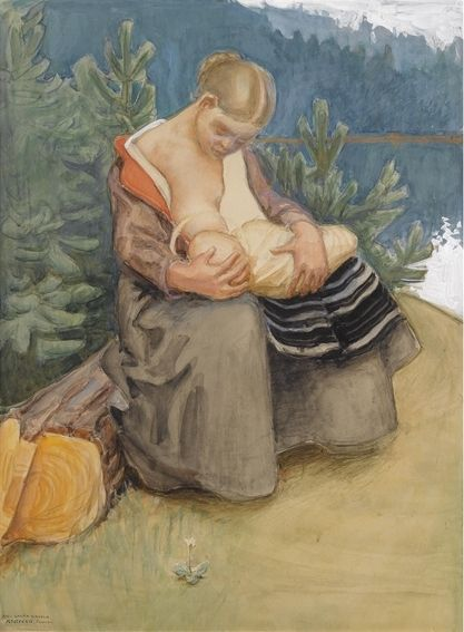 Akseli Gallen-Kallela (1865-1931): 'Mother and Child', 1907. Danmark