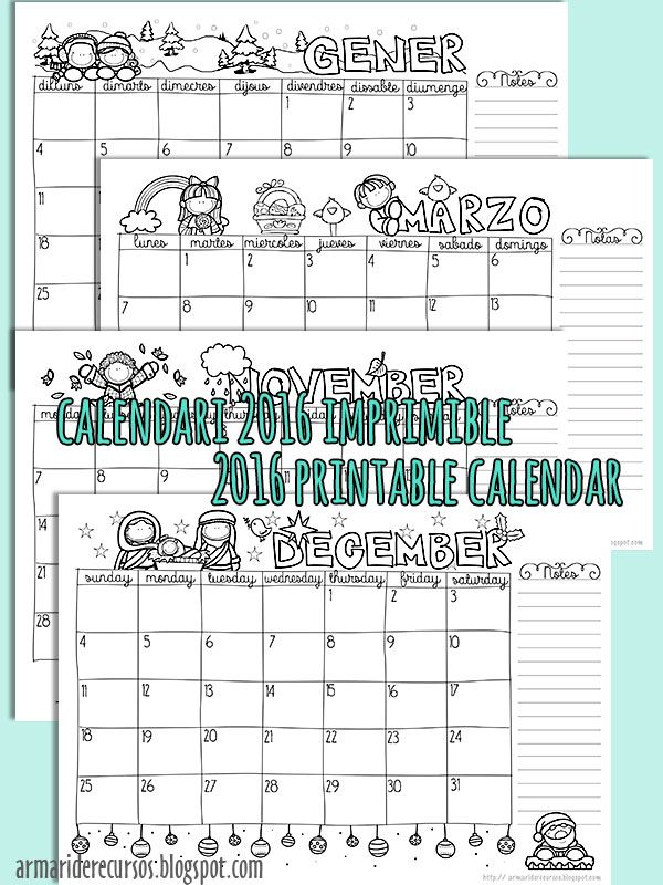 Calendario imprimible gratuito 2016. En catalán, español i inglés (primer dia…