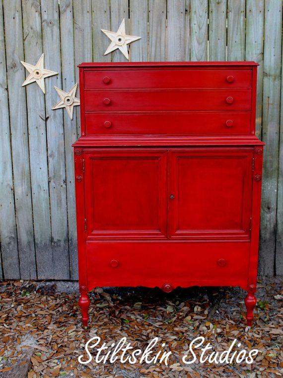 red painted furniture | Dishfunctional Designs: Vintage Red Painted Furniture