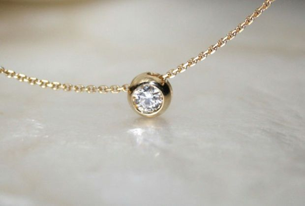 Solitaire diamond and 18k yellow gold necklace, Bezel set diamond necklace, Bezel diamond pendant, Bride necklace