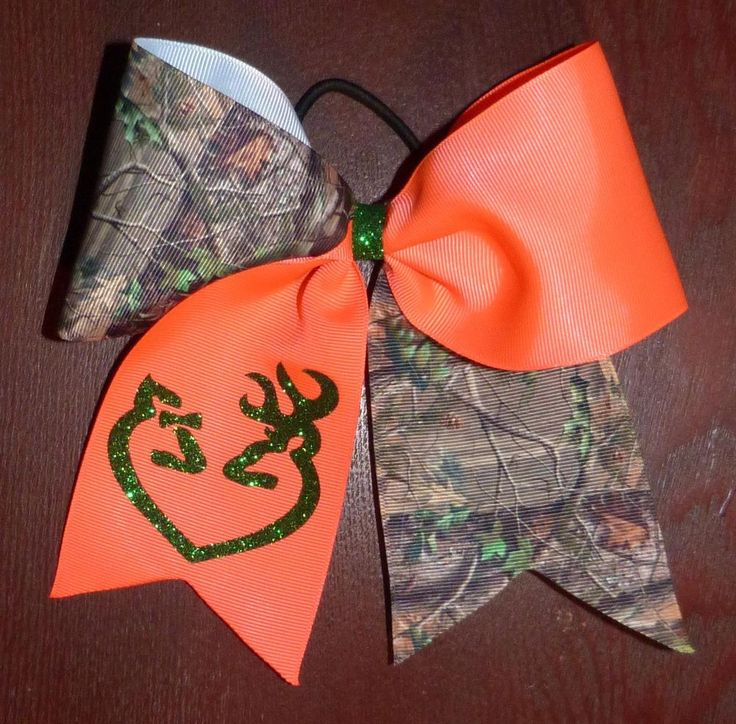 Cheer Bow Camouflage Deer Heart Hunting Hair Bows Cheerleading #CustomHandMade