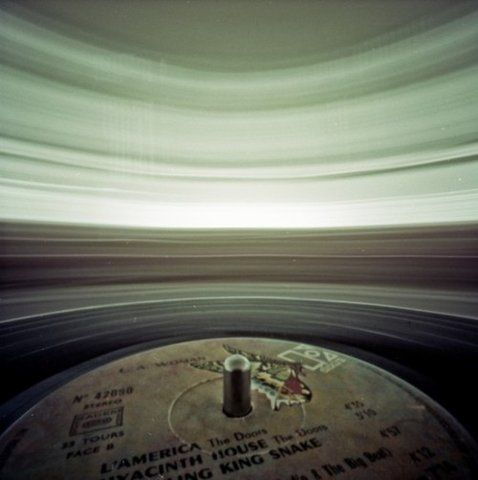 Slow exposure on a spinning record.