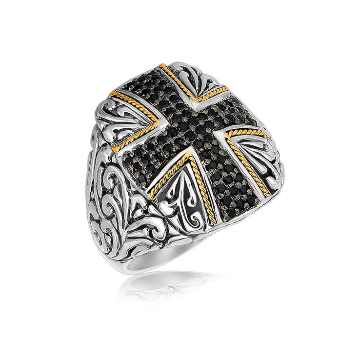 18K Yellow Gold and Sterling Silver Cross Style Ring with Black Sapphires