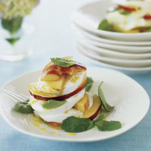 Peach and Mint Caprese Salad with Curry Vinaigrette